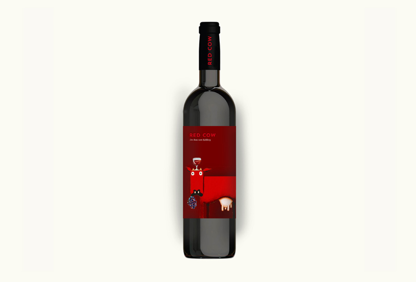 a mock up of a red wine bottle