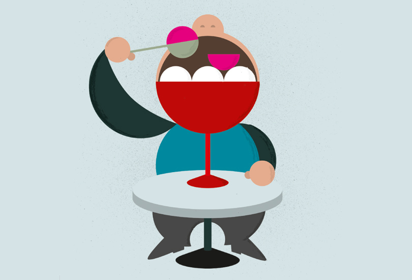 illustration of a guy eating icecream